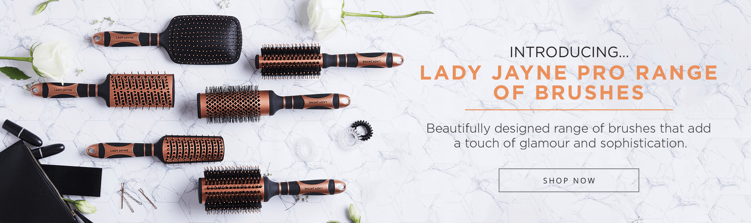 Lady Jayne Pro Range Brushes - Beautifully designed range of brushes that add a touch of glamour and sophistication.