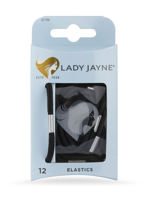 Black Thick Elastics - Pk 12