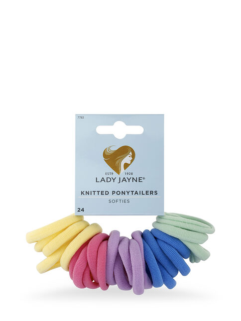 Pastel Soft Knitted Ponytailers - Pk 24