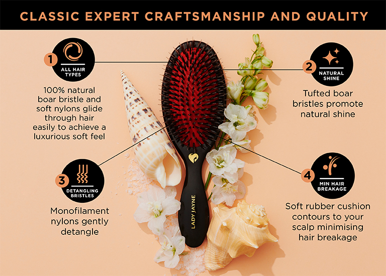 1- 100% natural boar bristle and soft nylons glide through hair easily to achieve a luxurious soft feel. 2 - Tufted boar bristles promote natural shine. 3 - Monofilament nylons gently detangle. 4 - Soft rubber cushion contours to your scalp minimising hair breakage.