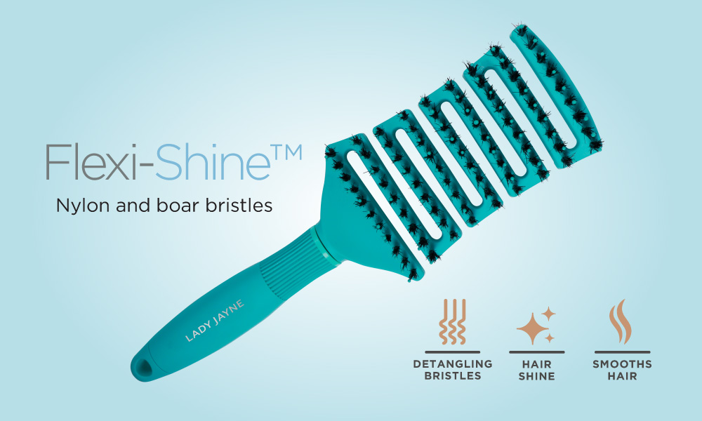 Flexi-Shine brush with a combination of nylon and boar bristles. Detangling bristles, hair shine and smooths hair.